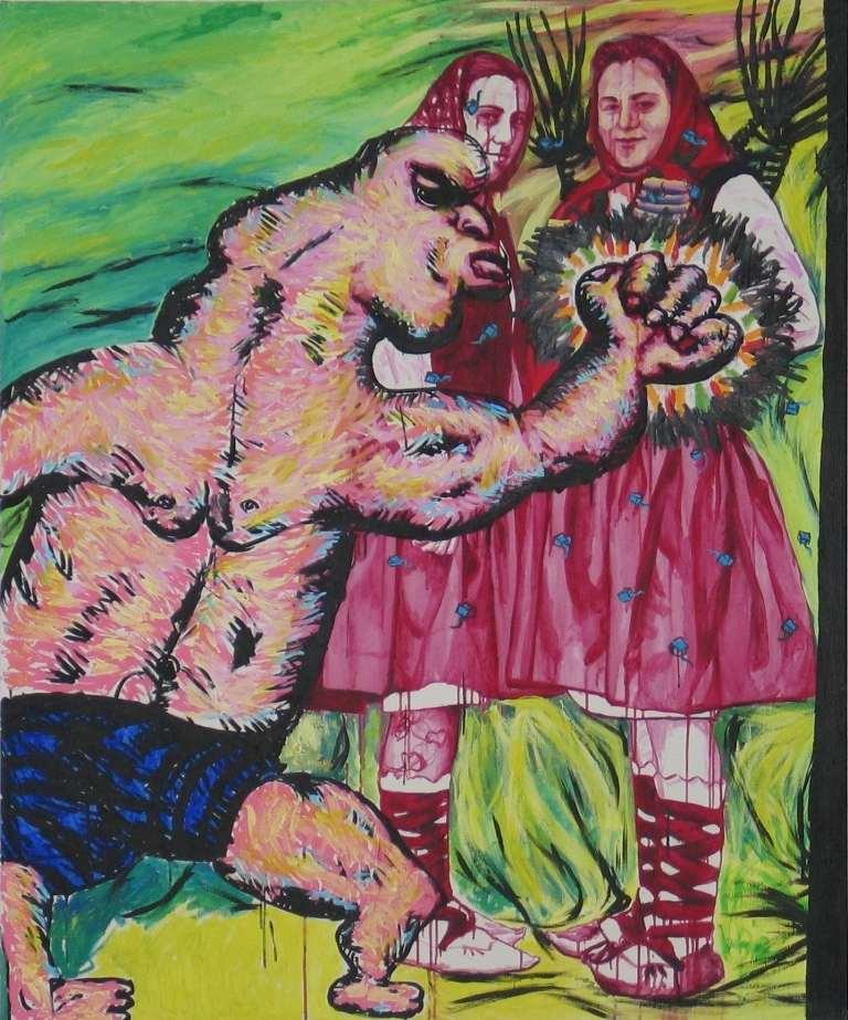 Gorzo Zmintitu', acrilic pe panza, 145×120 cm